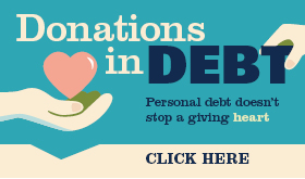 Donations in Debt infographic banner