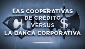 Las cooperativas de crédito versus banca banner de infografía
