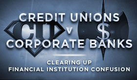 Credit Unions vs Corporate Banks infographic