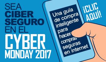 Sea ciber seguro en el Cyber Monday banner de infografía