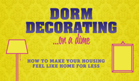 Dorm Decorating on a Dime infographic banner