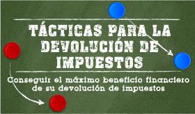 Tácticas para la devolución de impuestos banner de infografía