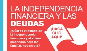 La independencia financiera las deudas banner de infografía