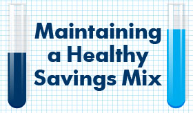 Maintaining a healthy Savings Mix infographic banner